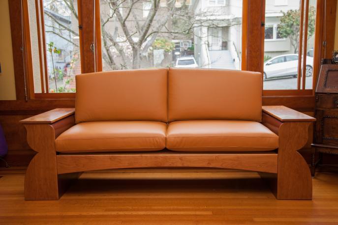 Sofa, Custom furniture, Cherry, Arts & Crafts, Leather Sofa