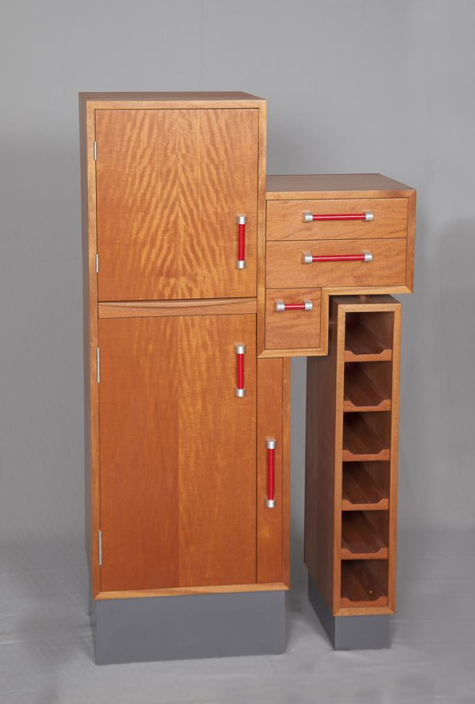 liquor cabinet, cusom furniture, one of a kind, statement piece, Mahogany, midcentury style, handmade