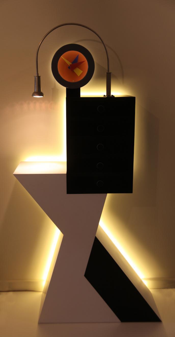 cabinet, Colorcore laminate, furniture divas, entry piece, hall table, clock