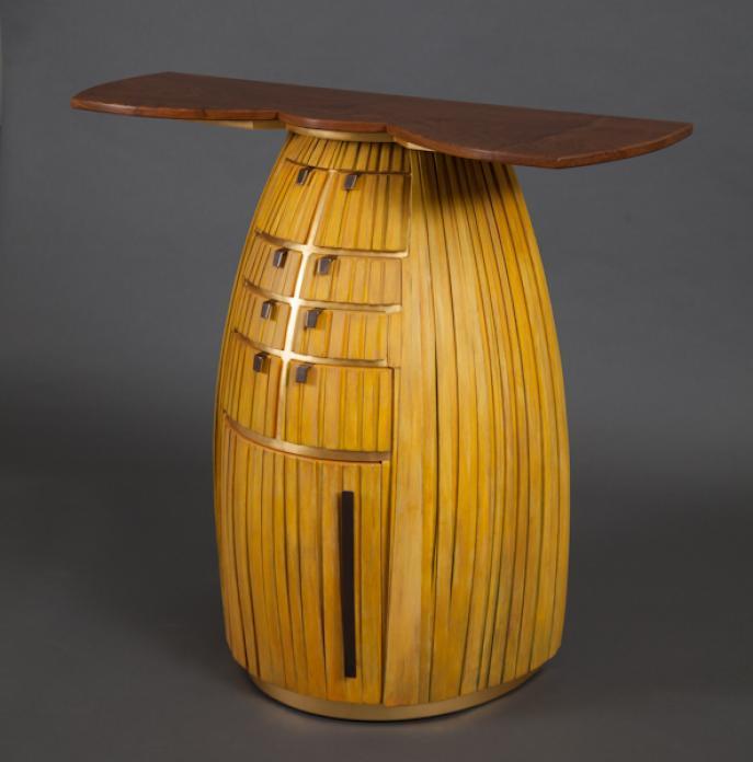 sideboard, entry, foyer, furniture, studio furniture, custom furniture, bowed front