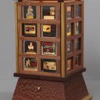custom lighting, custom lamp, lamp, glass slides, old advertising, advertising images, wood lamp, silent film slide